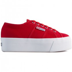 Superga Rossa Red Flame Up and Down 4 Cm 2790 Sneaker Donna Platform Rossa